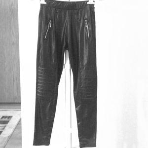 Pants - Black Motto Leggins w/ Gold zipper